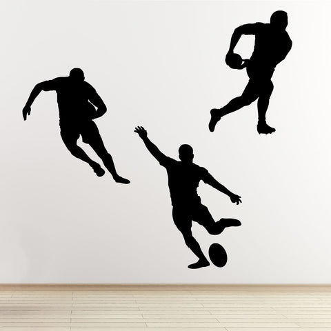 Rugby Player Wall Sticker Pack - Black