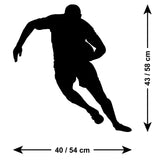 Running Rugby Player Wall Sticker - Size Guide