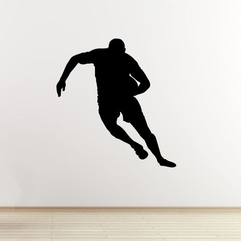 Running Rugby Player Wall Sticker - Black