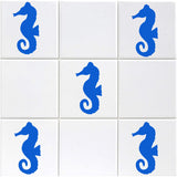 Seahorse Tile Stickers - Pack of 18 - Light Blue