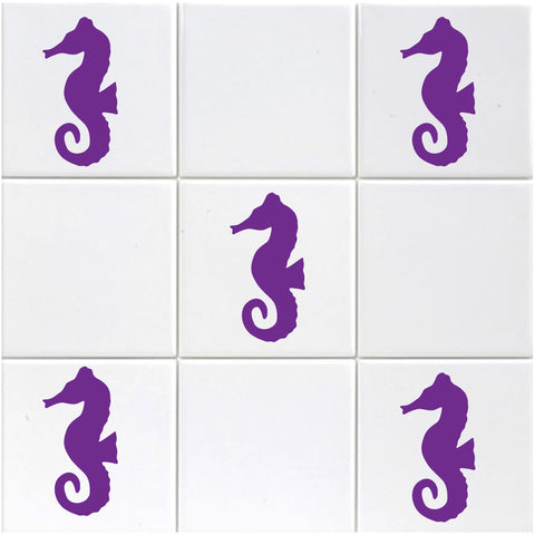 Seahorse Tile Stickers - Pack of 18 - Purple