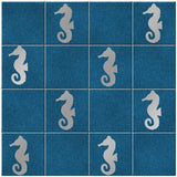 Seahorse Tile Stickers - Pack of 18 - Silver