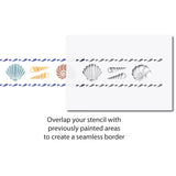 CraftStar Shell Border Stencil on bathroom wall use guide