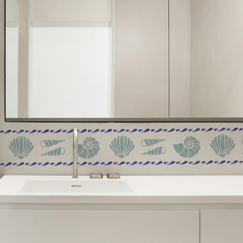 CraftStar Shell Border Stencil on bathroom wall