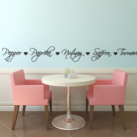 Spice Names Wall Sticker - Black