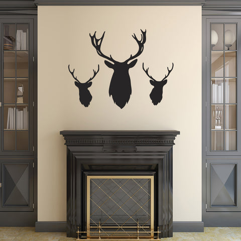 Stag Head Wall Stickers - Pack of 3 - Black