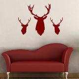 Stag Head Wall Stickers - Pack of 3 - Red
