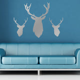 Stag Head Wall Stickers - Pack of 3 - Silver