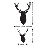 Stag Head Wall Stickers - Pack of 3 - Size Guide