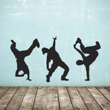 Street Dance Wall Stickers - Pack of 3 Dancers - Black