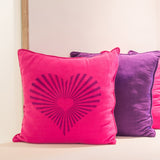 CraftStar Sunburst Heart Pattern Stencil on a cushion
