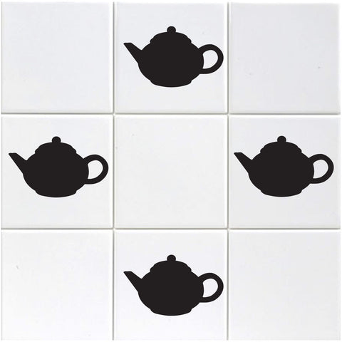 Teapot Tile Stickers - Pack of 18 - Black