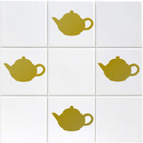 Teapot Tile Stickers - Pack of 18 - Gold
