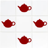 Teapot Tile Stickers - Pack of 18 - Red
