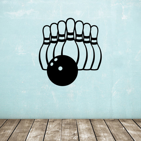 Ten Pin Bowling Wall Sticker - Black