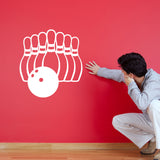 Ten Pin Bowling Wall Sticker - White