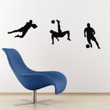 Footballer Wall Sticker Pack - Three Players - Black