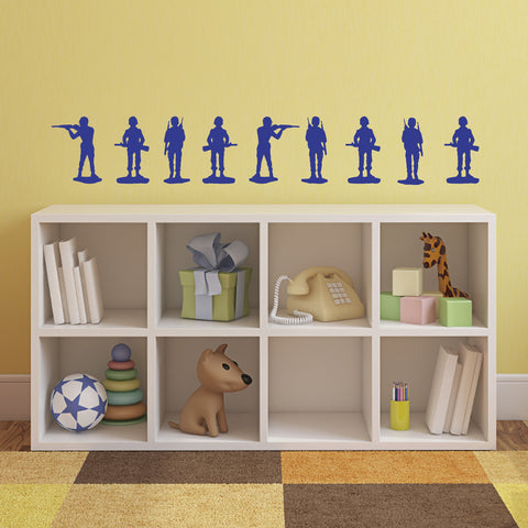 Toy Soldier Wall Stickers - Pack of 9 - Dark Blue