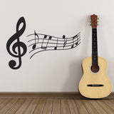 Treble Clef and Music Notes Wall Sticker - Black