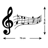 Treble Clef and Music Notes Wall Sticker - Size Guide