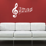 Treble Clef and Music Notes Wall Sticker - White