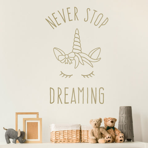 Never Stop Dreaming Unicorn Wall Sticker - Metallic Gold