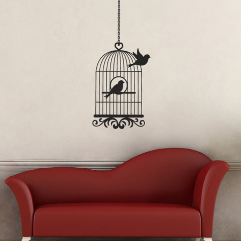Vintage Bird Cage Wall Sticker - Bird Flying From Cage - Black