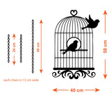 Vintage Bird Cage Wall Sticker - Bird Flying From Cage - Size Guide