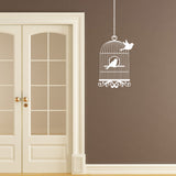 Vintage Bird Cage Wall Sticker - Bird Flying From Cage - White