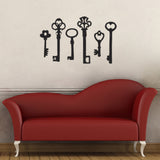 Vintage Key Wall Sticker Pack - Black