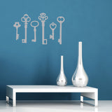 Vintage Key Wall Sticker Pack - Silver