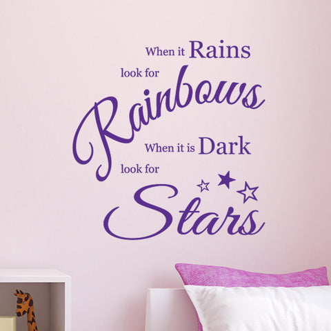 When It Rains Look For Rainbows When It Is Dark Look For Stars - Inspirational Wall Sticker - Purple