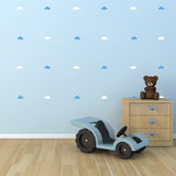 White and Blue Cloud Wall Stickers