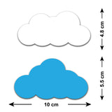 White and Blue Cloud Wall Stickers - Size Guide