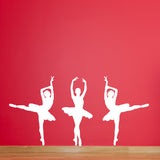 Set of 3 Ballet Dancer Wall Stickers - White
