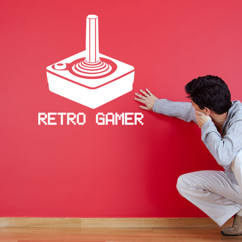 Retro Gamer Wall Sticker - 8-Bit Joystick Decal - White