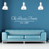 Personalised Family Name Wall Sticker - White