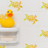 Craftstar Turtle Stencil on tiles