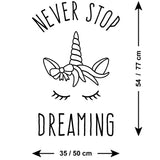 Never Stop Dreaming Unicorn Wall Sticker - Size Guide