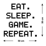 ZygoMax Eat Sleep Game Repeat Wall Sticker Size Guide