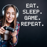 ZygoMax Eat Sleep Game Repeat Wall Sticker in white