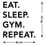 ZygoMax Eat Sleep Gym Repeat Wall Sticker Size Guide