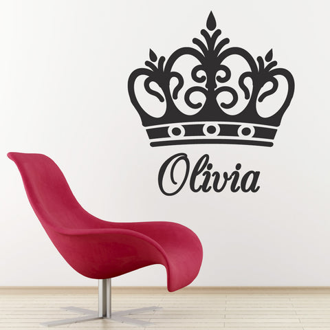Personalised Name Crown Wall Sticker - Black