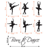 Born to Dance Wall Sticker Size Guide