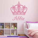 Personalised Name Crown Wall Sticker - Light Pink