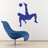 Football Wall Sticker - Overhead Kick - Dark Blue