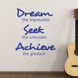 Dream Seek Achieve Wall Sticker - Dark Blue