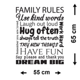 Family Rules Wall Sticker - Size Guide