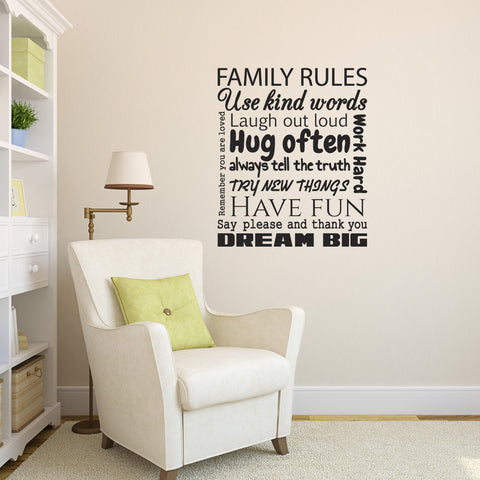 Family Rules Wall Sticker - Black