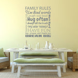 Family Rules Wall Sticker - Silver